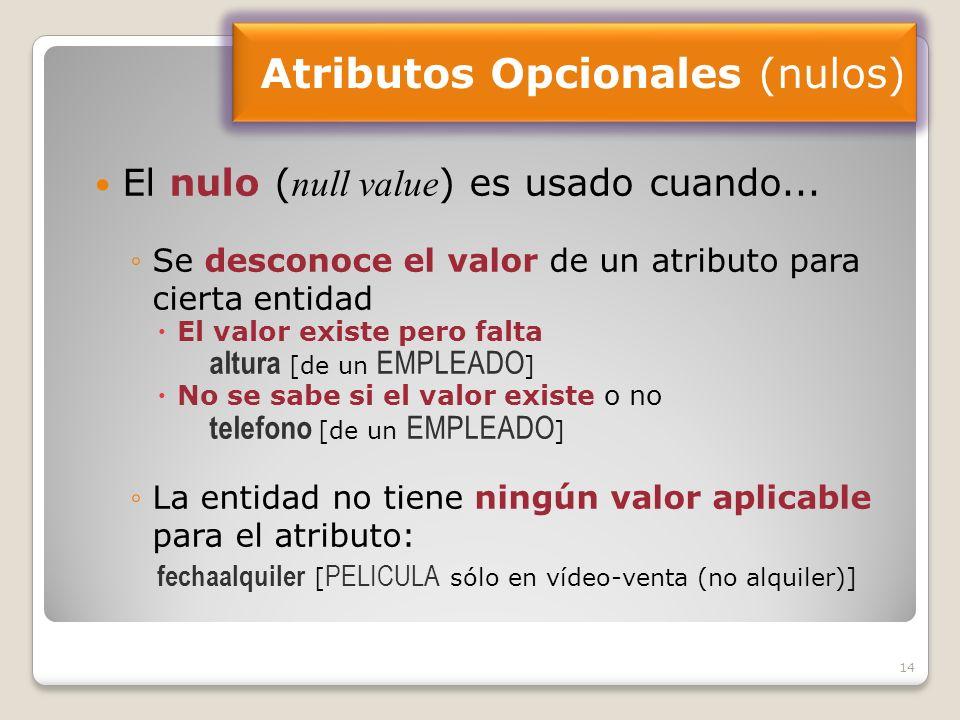 14 El nulo ( null value ) es usado cuando...