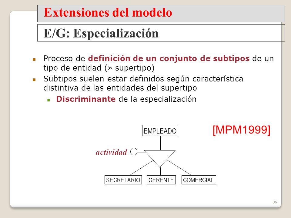 39 Proceso de definición de un conjunto de subtipos de un tipo de entidad (» supertipo) Subtipos suelen estar definidos según característica distintiva de las entidades del supertipo Discriminante de la especialización E/G: Especialización Extensiones del modelo EMPLEADO actividad SECRETARIOGERENTECOMERCIAL [MPM1999]