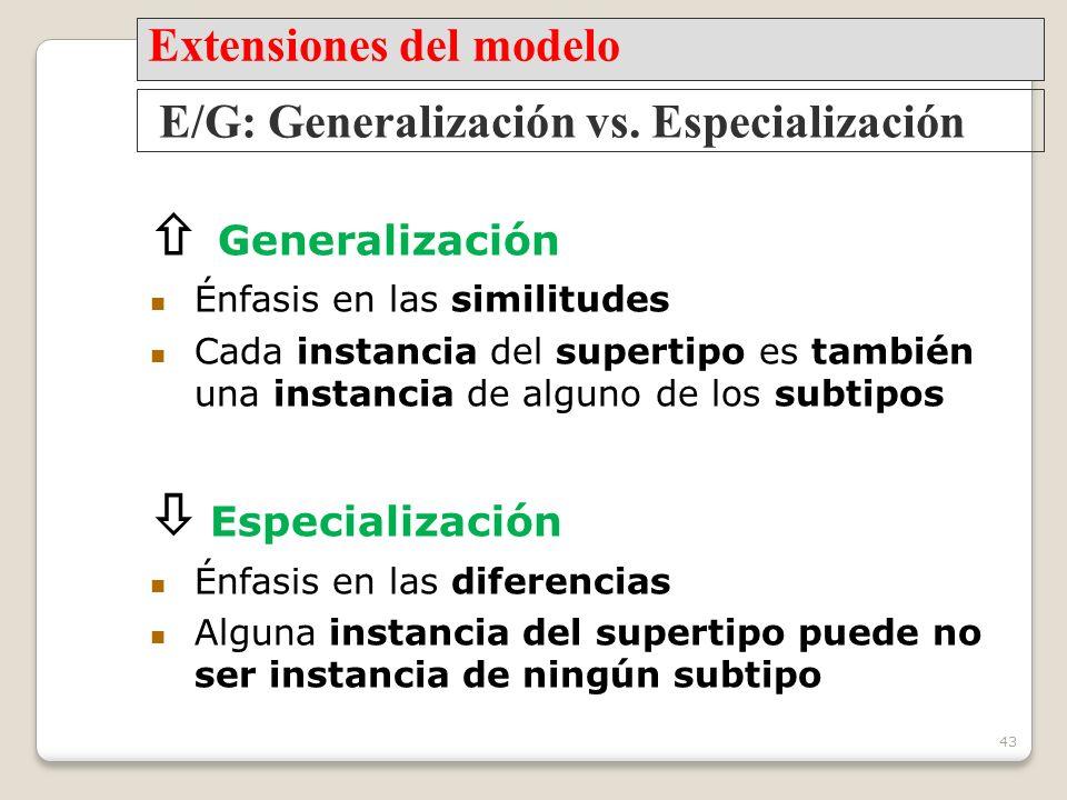 43 Generalización Énfasis en las similitudes Cada instancia del supertipo es también una instancia de alguno de los subtipos Especialización Énfasis en las diferencias Alguna instancia del supertipo puede no ser instancia de ningún subtipo E/G: Generalización vs.