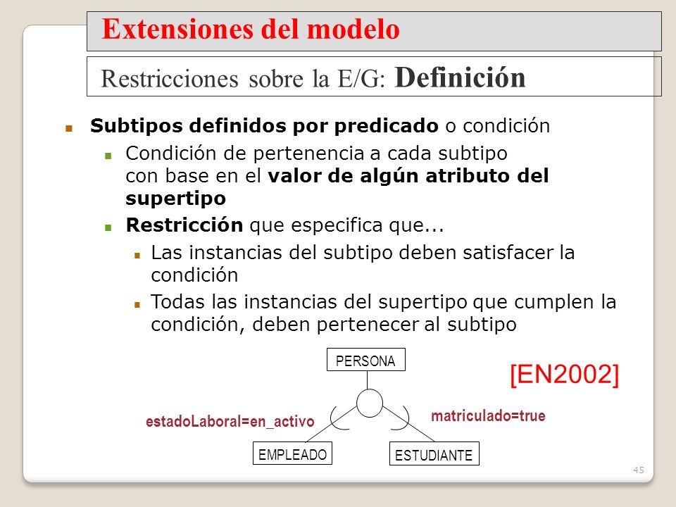 45 Subtipos definidos por predicado o condición Condición de pertenencia a cada subtipo con base en el valor de algún atributo del supertipo Restricción que especifica que...
