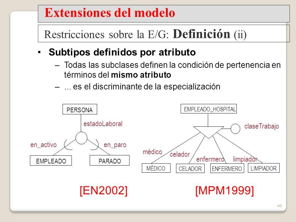46 Subtipos definidos por atributo –Todas las subclases definen la condición de pertenencia en términos del mismo atributo –...