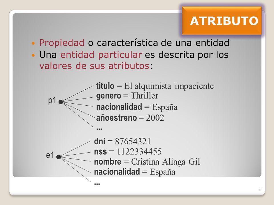 6 Propiedad o característica de una entidad Una entidad particular es descrita por los valores de sus atributos: titulo = El alquimista impaciente genero = Thriller nacionalidad = España añoestreno = 2002 p1...