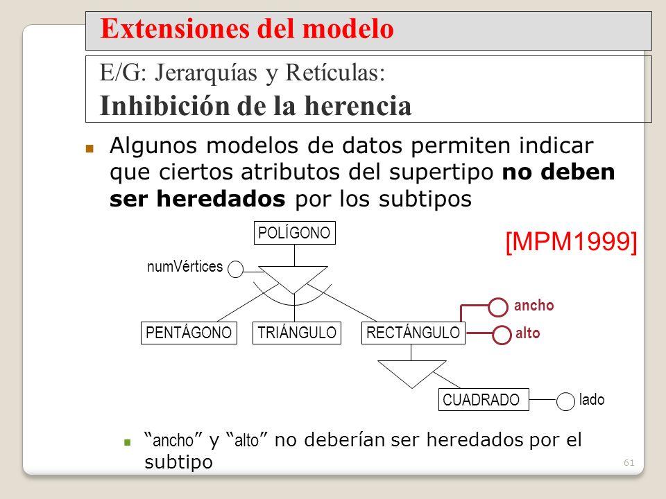 61 Algunos modelos de datos permiten indicar que ciertos atributos del supertipo no deben ser heredados por los subtipos ancho y alto no deberían ser heredados por el subtipo PENTÁGONOTRIÁNGULO numVértices alto POLÍGONO [MPM1999] Extensiones del modelo E/G: Jerarquías y Retículas: Inhibición de la herencia ancho lado CUADRADO RECTÁNGULO