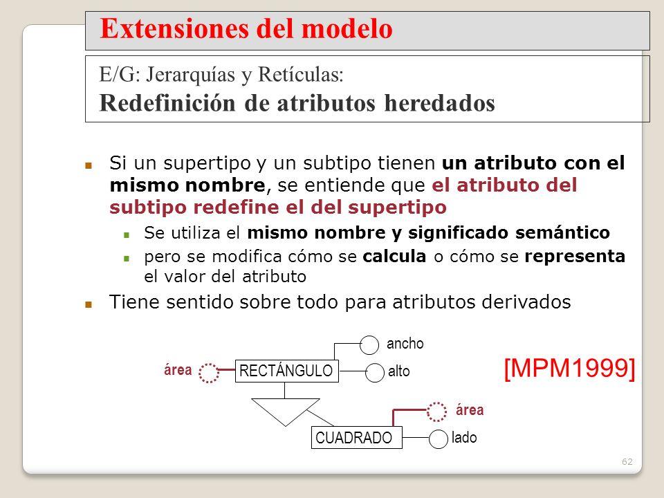 62 Si un supertipo y un subtipo tienen un atributo con el mismo nombre, se entiende que el atributo del subtipo redefine el del supertipo Se utiliza el mismo nombre y significado semántico pero se modifica cómo se calcula o cómo se representa el valor del atributo Tiene sentido sobre todo para atributos derivados alto [MPM1999] Extensiones del modelo E/G: Jerarquías y Retículas: Redefinición de atributos heredados ancho lado CUADRADO área RECTÁNGULO