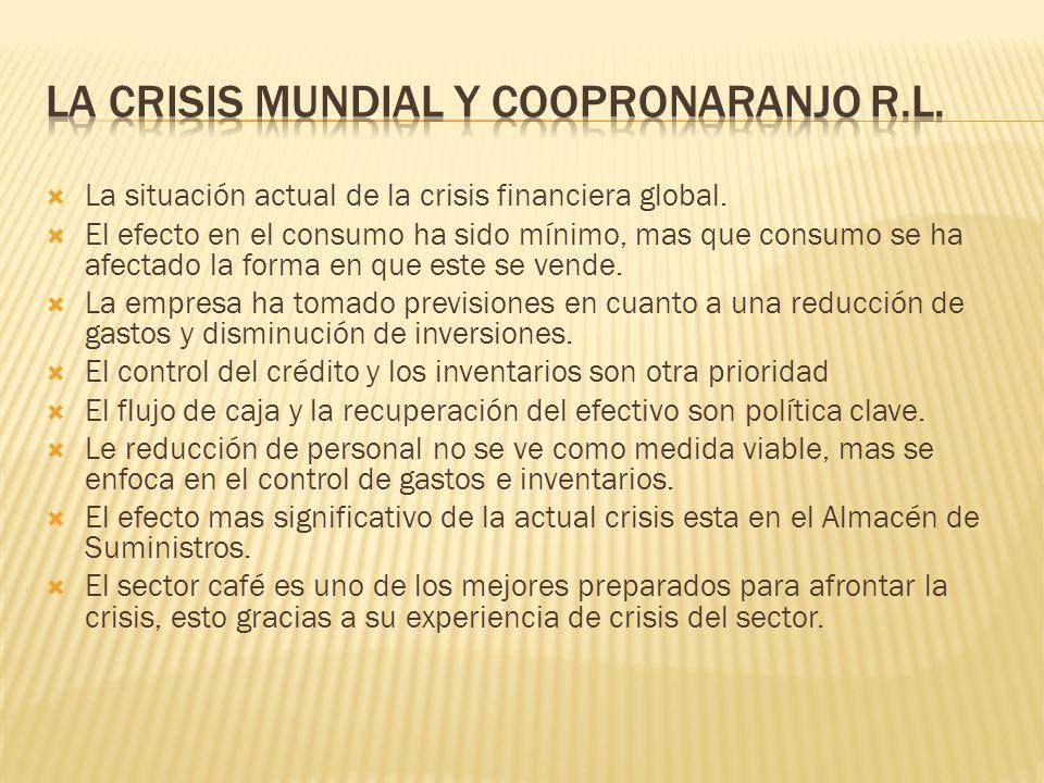 La situación actual de la crisis financiera global. El efecto en el consumo ha sido mínimo, mas que consumo se ha afectado la forma en que este se ven