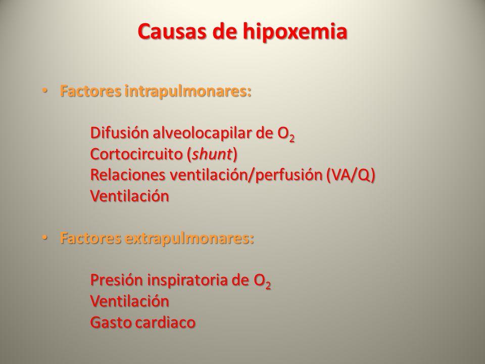 Causas de hipoxemia Factores intrapulmonares: Factores intrapulmonares: Difusión alveolocapilar de O 2 Cortocircuito (shunt) Relaciones ventilación/pe