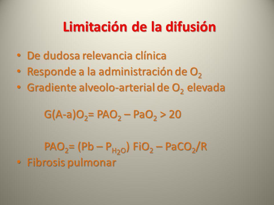 Limitación de la difusión De dudosa relevancia clínica De dudosa relevancia clínica Responde a la administración de O 2 Responde a la administración d