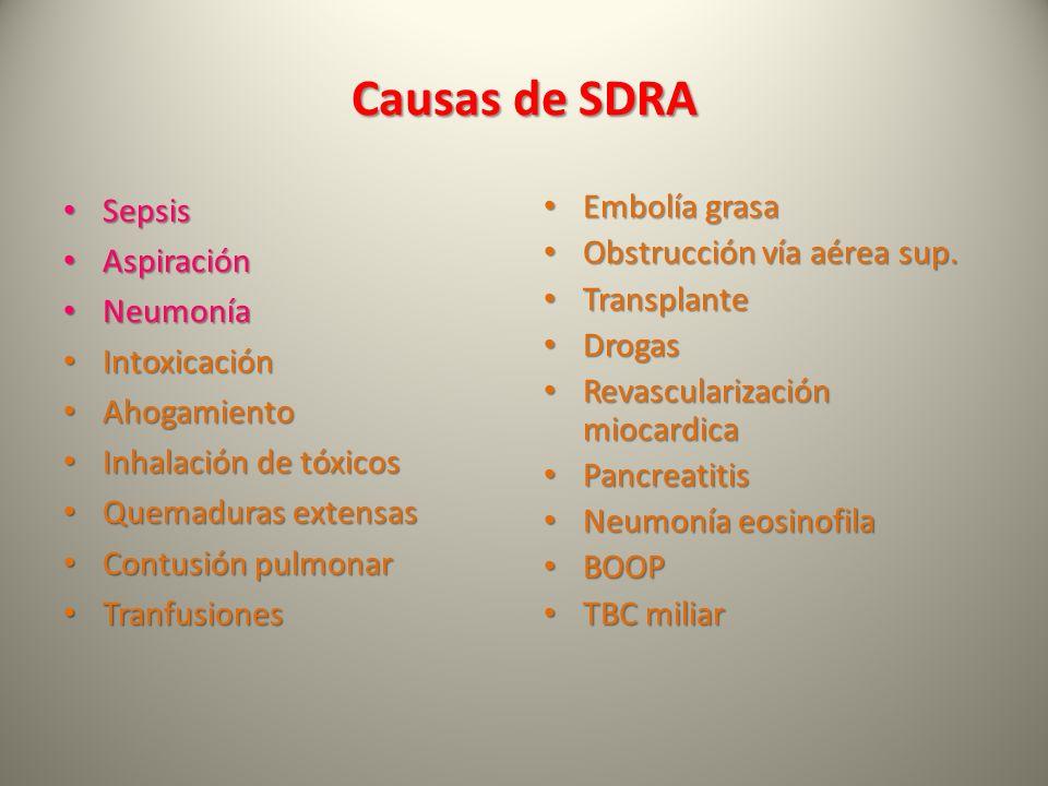 Causas de SDRA Sepsis Sepsis Aspiración Aspiración Neumonía Neumonía Intoxicación Intoxicación Ahogamiento Ahogamiento Inhalación de tóxicos Inhalació