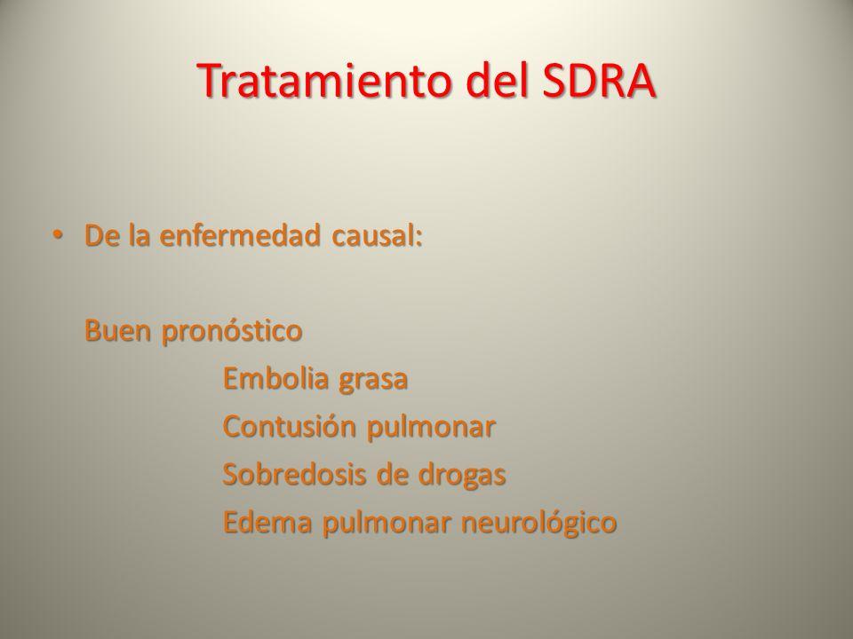 Tratamiento del SDRA De la enfermedad causal: De la enfermedad causal: Buen pronóstico Embolia grasa Contusión pulmonar Sobredosis de drogas Edema pul