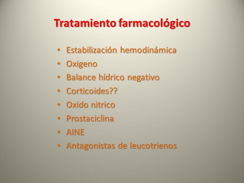 Tratamiento farmacológico Estabilización hemodinámica Estabilización hemodinámica Oxigeno Oxigeno Balance hídrico negativo Balance hídrico negativo Co