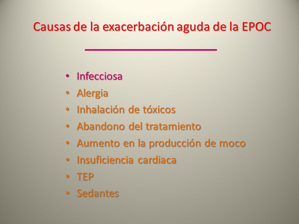 Causas de la exacerbación aguda de la EPOC Infecciosa Infecciosa Alergia Alergia Inhalación de tóxicos Inhalación de tóxicos Abandono del tratamiento