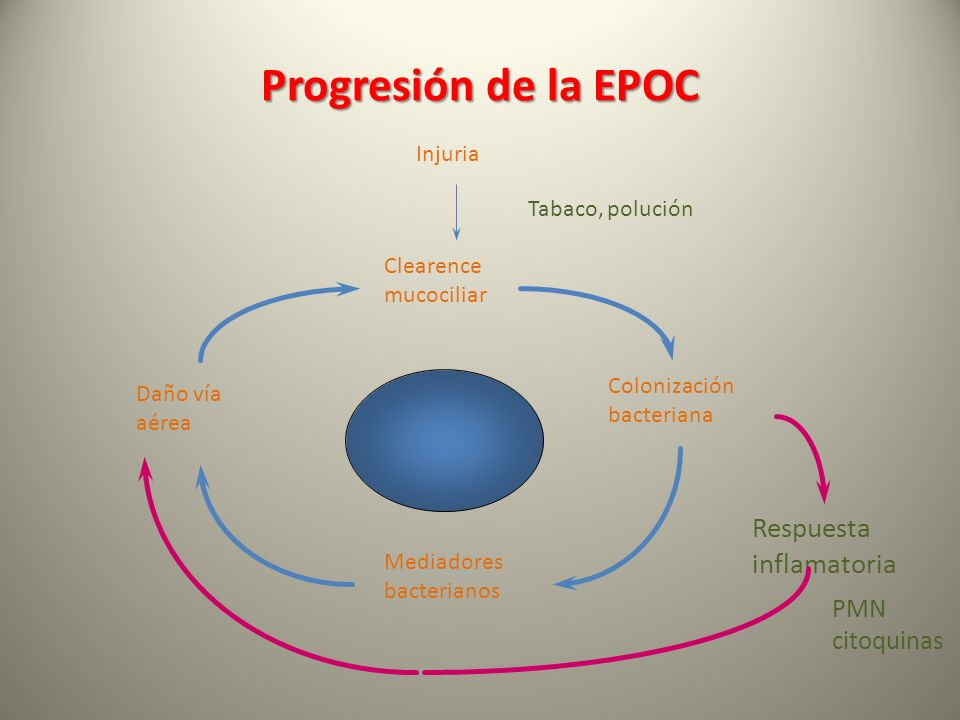 Progresión de la EPOC Injuria Tabaco, polución Clearence mucociliar Colonización bacteriana Mediadores bacterianos Daño vía aérea Respuesta inflamator