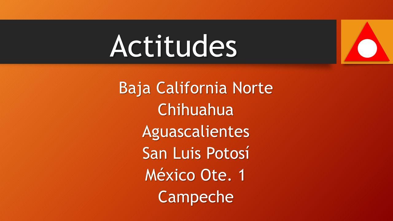 Baja California Norte ChihuahuaAguascalientes San Luis Potosí México Ote. 1 Campeche Actitudes