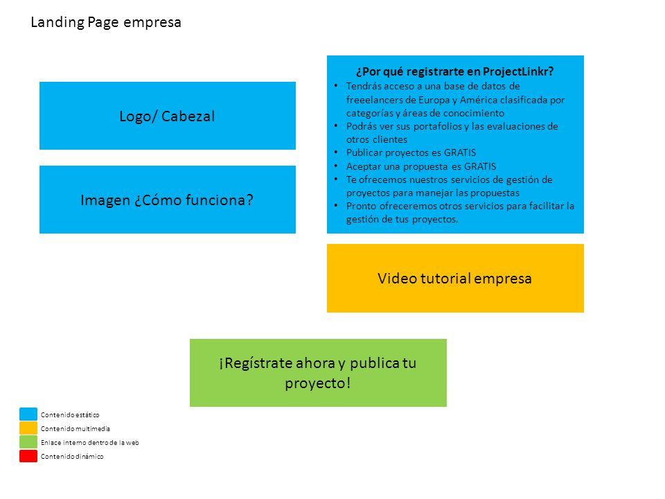 Landing Page empresa Logo/ Cabezal ¡Regístrate ahora y publica tu proyecto.
