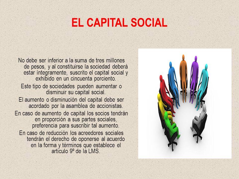 EL CAPITAL SOCIAL No debe ser inferior a la suma de tres millones de pesos, y al constituirse la sociedad deberá estar íntegramente, suscrito el capital social y exhibido en un cincuenta porciento.