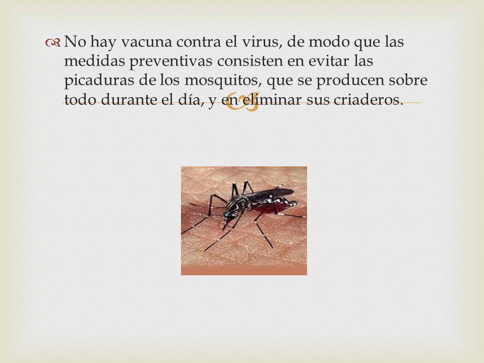 No hay vacuna contra el virus, de modo que las medidas preventivas consisten en evitar las picaduras de los mosquitos, que se producen sobre todo dura
