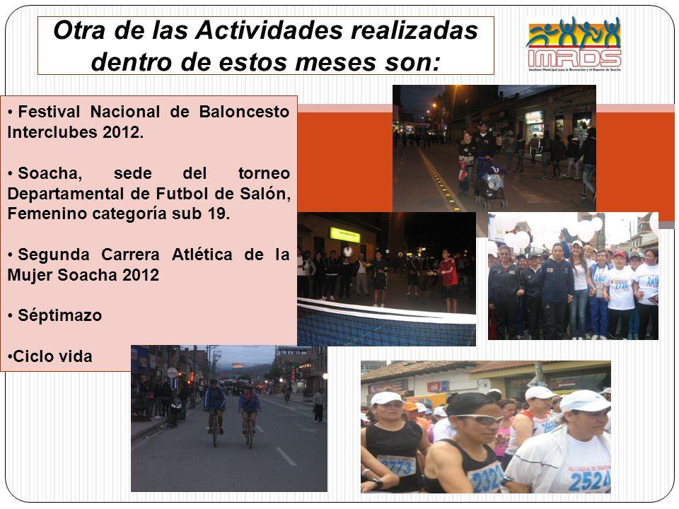 Otra de las Actividades realizadas dentro de estos meses son: Festival Nacional de Baloncesto Interclubes 2012. Soacha, sede del torneo Departamental