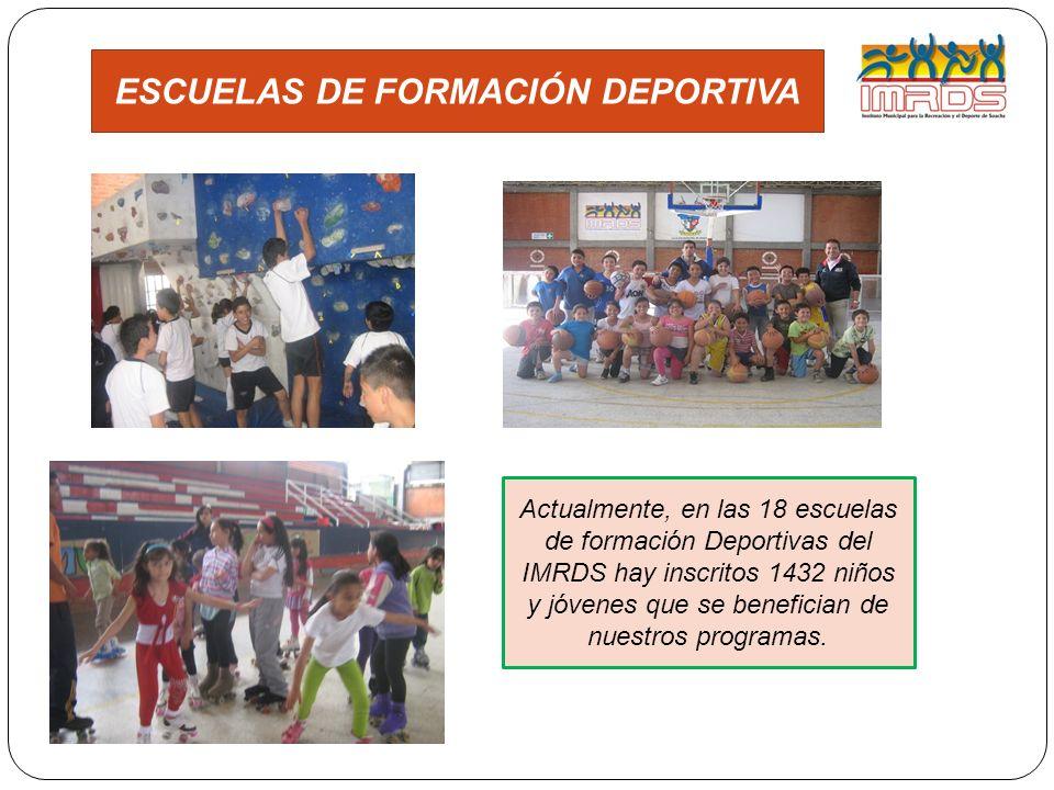 ESCUELAS DE FORMACIÓN DEPORTIVA Actualmente, en las 18 escuelas de formación Deportivas del IMRDS hay inscritos 1432 niños y jóvenes que se benefician