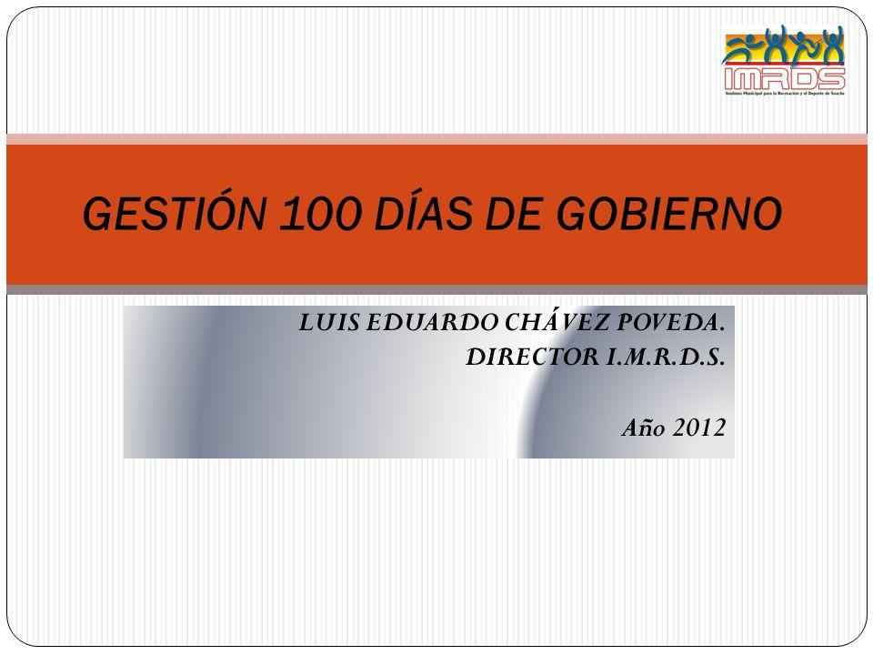 LUIS EDUARDO CHÁVEZ POVEDA. DIRECTOR I.M.R.D.S. Año 2012 GESTIÓN 100 DÍAS DE GOBIERNO