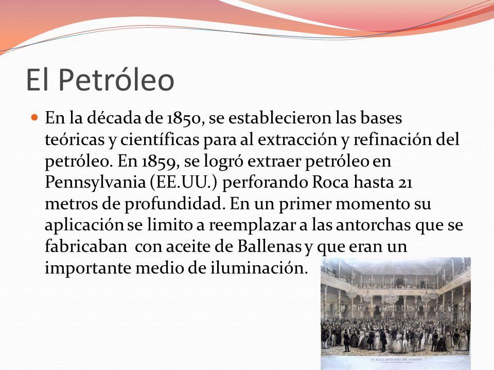 El Petróleo En la década de 1850, se establecieron las bases teóricas y científicas para al extracción y refinación del petróleo. En 1859, se logró ex