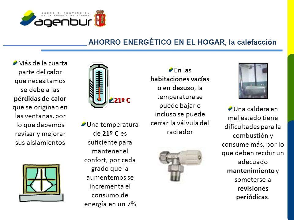 AHORRO ENERGÉTICO EN EL HOGAR, la calefacción Más de la cuarta parte del calor que necesitamos se debe a las pérdidas de calor que se originan en las