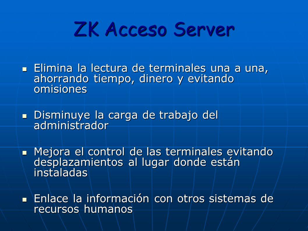 ZK Acceso Server Elimina la lectura de terminales una a una, ahorrando tiempo, dinero y evitando omisiones Elimina la lectura de terminales una a una,