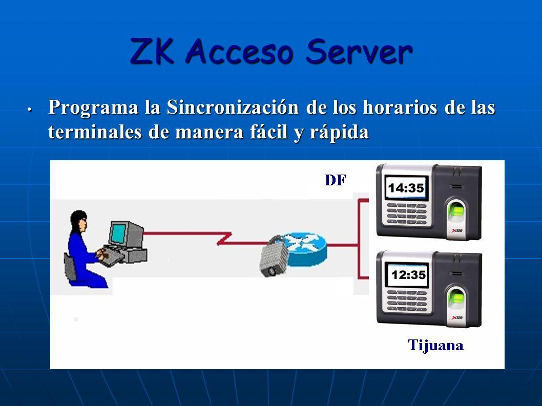 ZK Acceso Server Programa la Sincronización de los horarios de las terminales de manera fácil y rápida Programa la Sincronización de los horarios de l