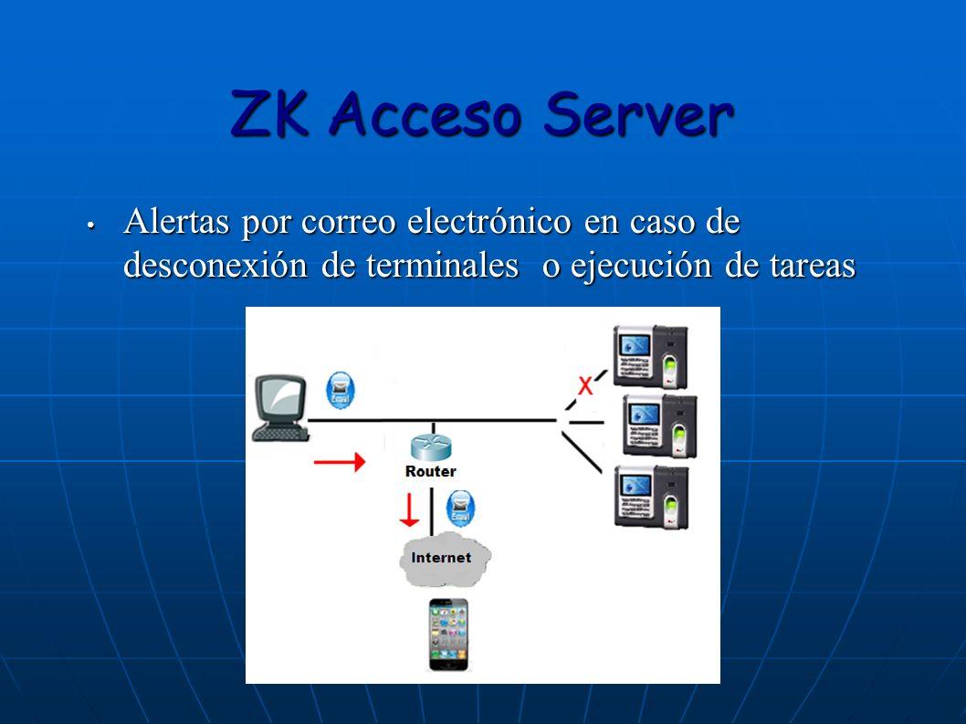 ZK Acceso Server Alertas por correo electrónico en caso de desconexión de terminales o ejecución de tareas Alertas por correo electrónico en caso de d