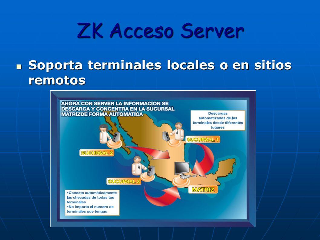 ZK Acceso Server Soporta terminales locales o en sitios remotos Soporta terminales locales o en sitios remotos