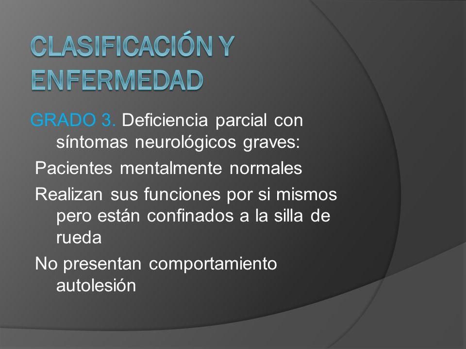 GRADO 3. Deficiencia parcial con síntomas neurológicos graves: Pacientes mentalmente normales Realizan sus funciones por si mismos pero están confinad