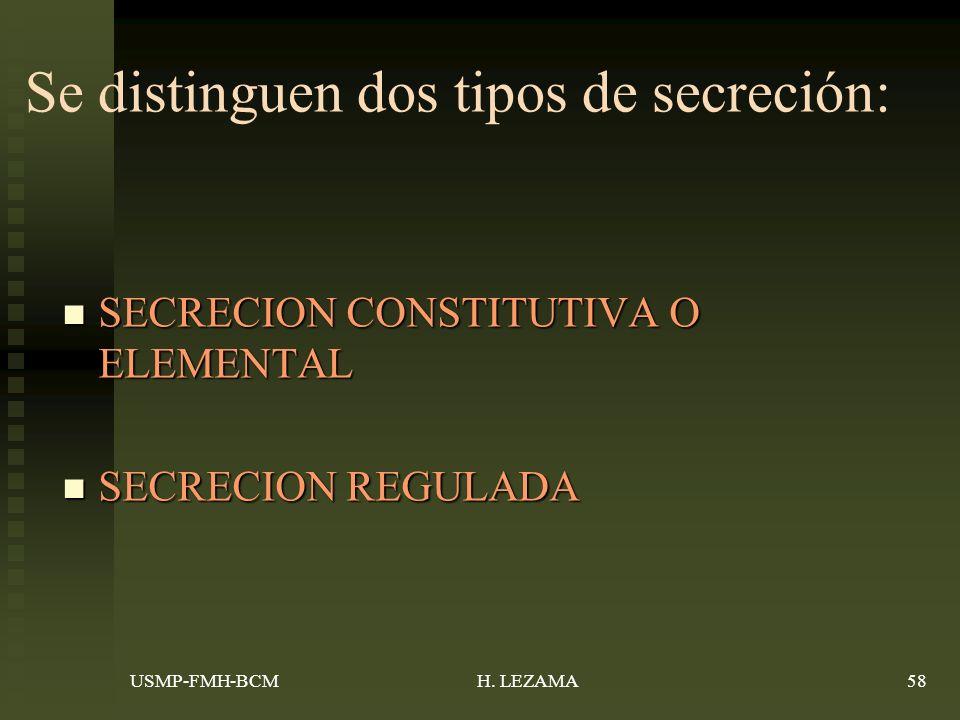 Se distinguen dos tipos de secreción: SECRECION CONSTITUTIVA O ELEMENTAL SECRECION CONSTITUTIVA O ELEMENTAL SECRECION REGULADA SECRECION REGULADA USMP-FMH-BCM58H.