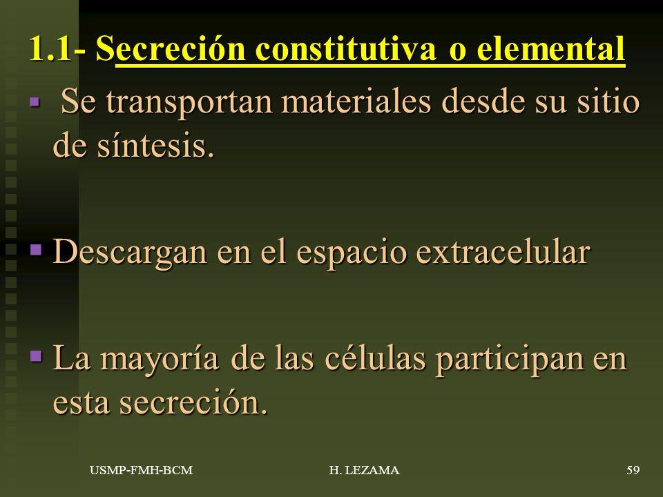 1.1- Secreción constitutiva o elemental Se transportan materiales desde su sitio de síntesis.