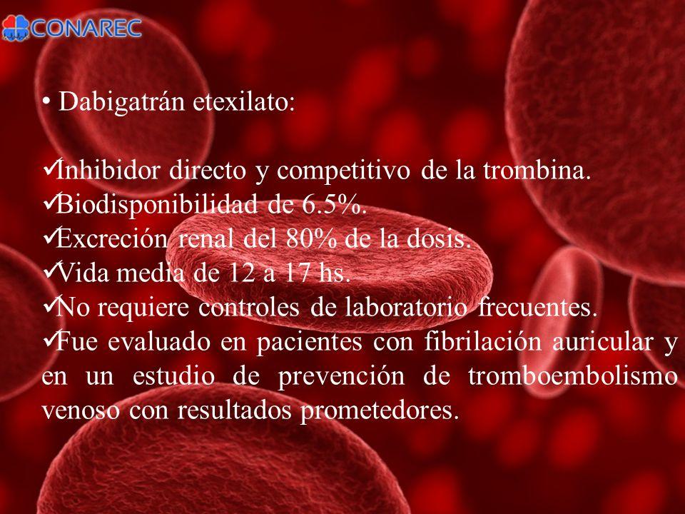 Dabigatrán etexilato: Inhibidor directo y competitivo de la trombina. Biodisponibilidad de 6.5%. Excreción renal del 80% de la dosis. Vida media de 12