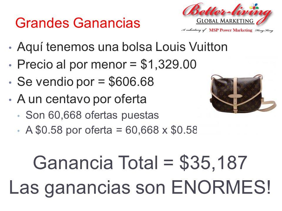 Grandes Ganancias Aquí tenemos una bolsa Louis Vuitton Precio al por menor = $1,329.00 Se vendio por = $606.68 A un centavo por oferta Son 60,668 ofer