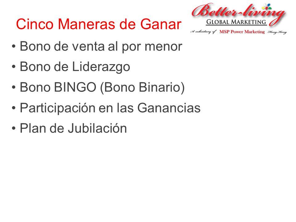 Cinco Maneras de Ganar Bono de venta al por menor Bono de Liderazgo Bono BINGO (Bono Binario) Participación en las Ganancias Plan de Jubilación