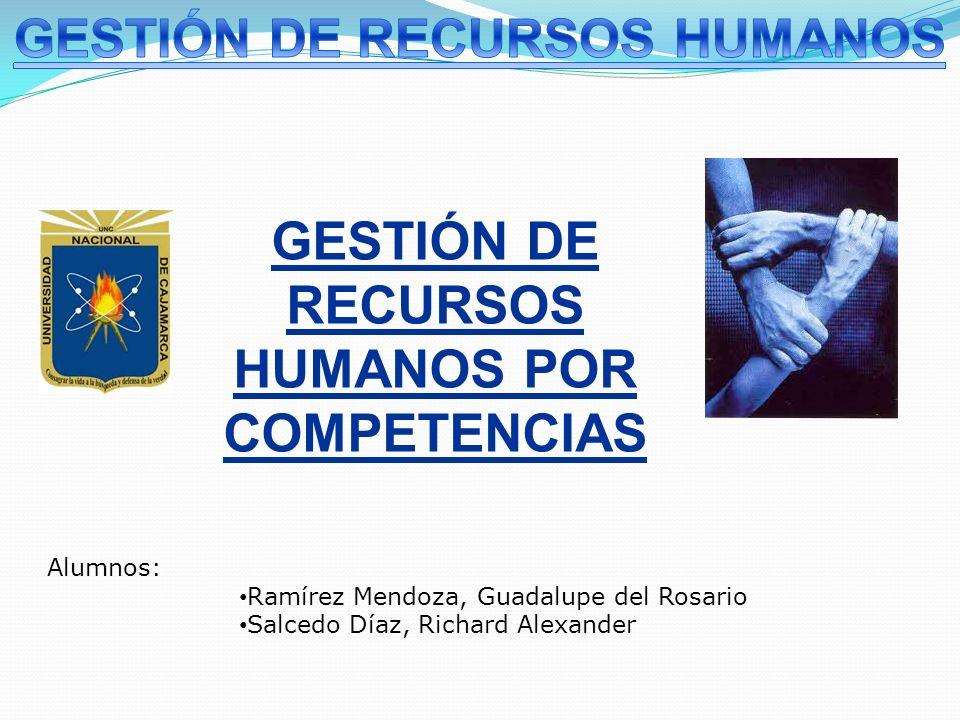 GESTIÓN DE RECURSOS HUMANOS POR COMPETENCIAS Alumnos: Ramírez Mendoza, Guadalupe del Rosario Salcedo Díaz, Richard Alexander