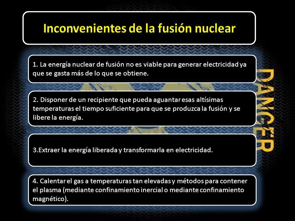 1. La energía nuclear de fusión no es viable para generar electricidad ya que se gasta más de lo que se obtiene. 2. Disponer de un recipiente que pued