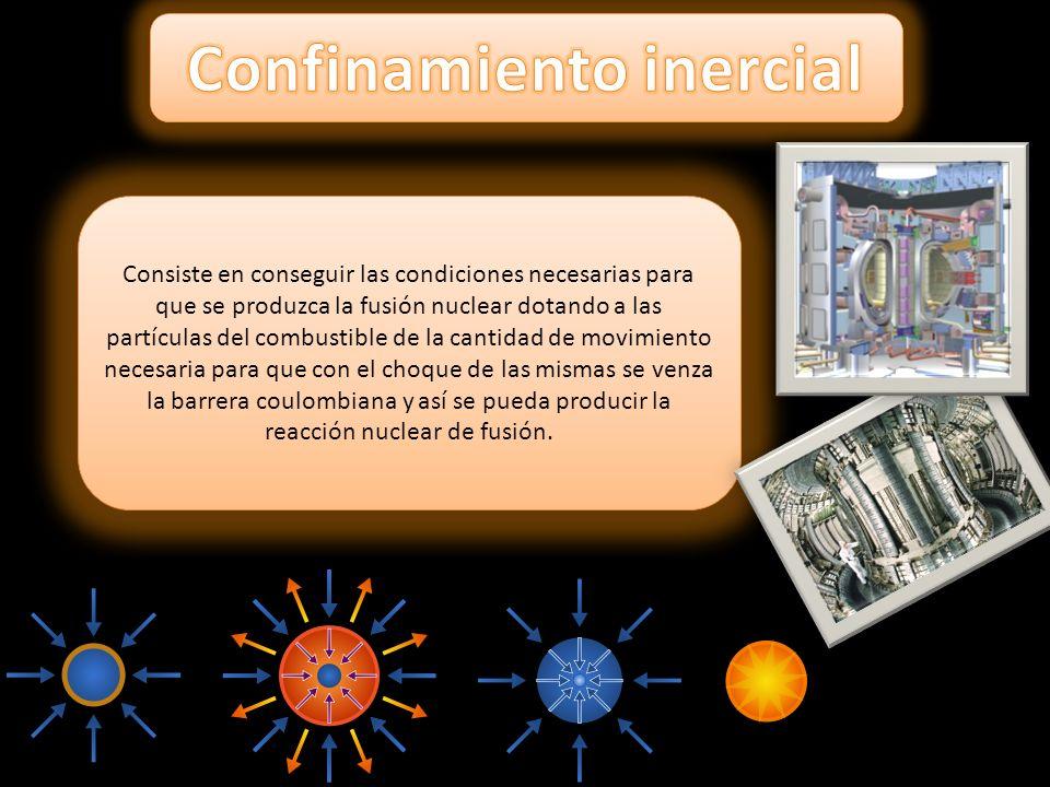 Consiste en conseguir las condiciones necesarias para que se produzca la fusión nuclear dotando a las partículas del combustible de la cantidad de mov