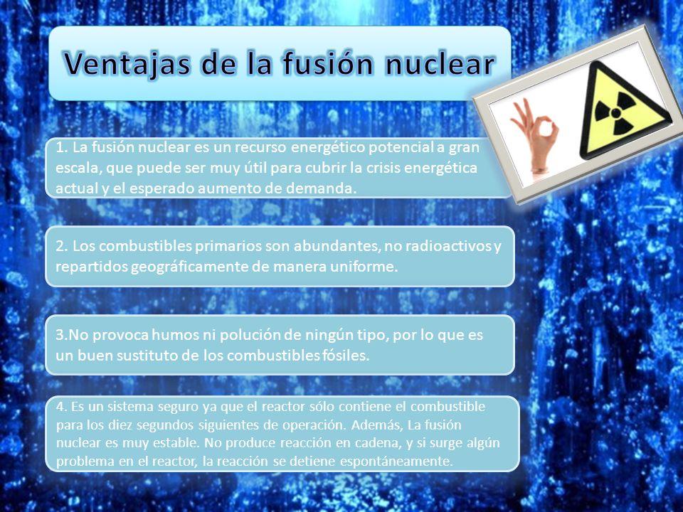 1. La fusión nuclear es un recurso energético potencial a gran escala, que puede ser muy útil para cubrir la crisis energética actual y el esperado au