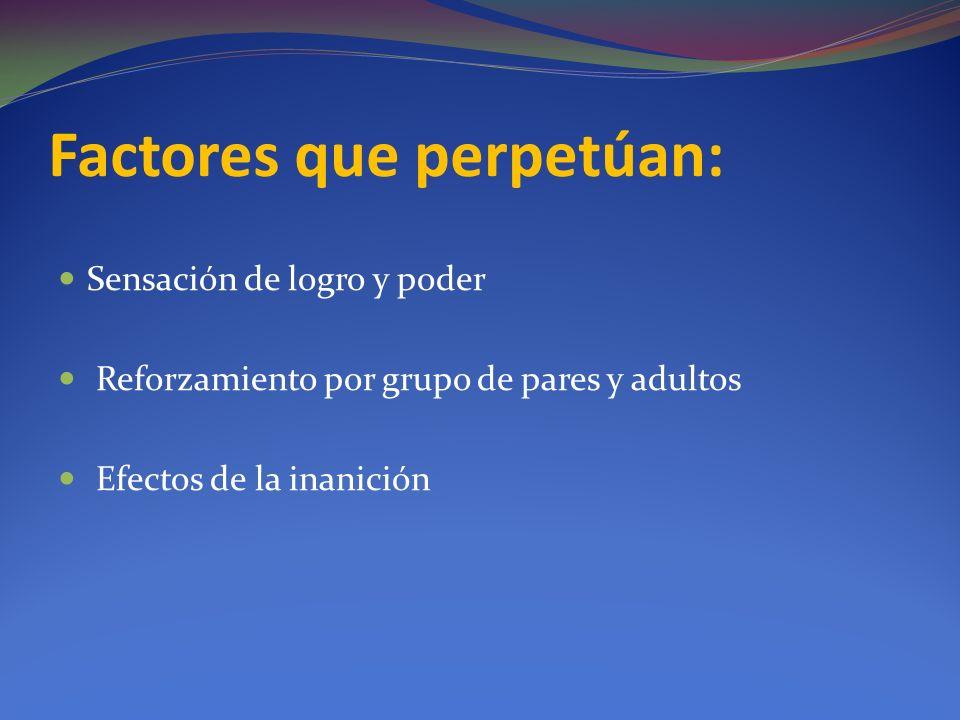 Factores que perpetúan: Sensación de logro y poder Reforzamiento por grupo de pares y adultos Efectos de la inanición