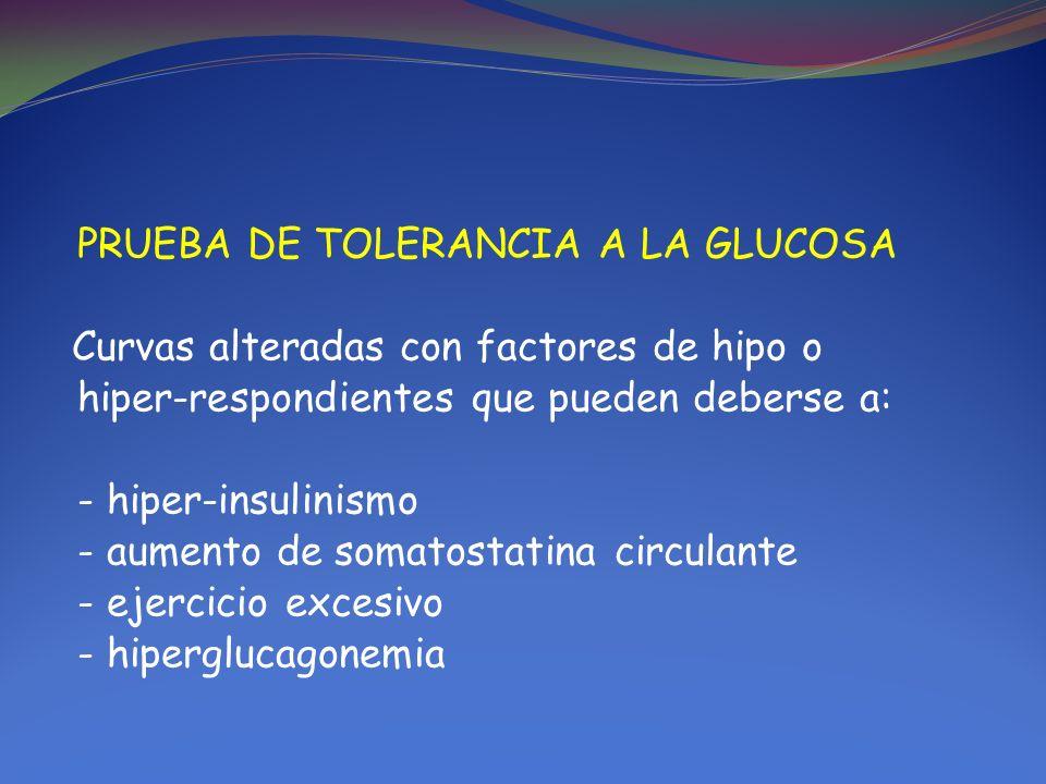 PRUEBA DE TOLERANCIA A LA GLUCOSA Curvas alteradas con factores de hipo o hiper-respondientes que pueden deberse a: - hiper-insulinismo - aumento de somatostatina circulante - ejercicio excesivo - hiperglucagonemia