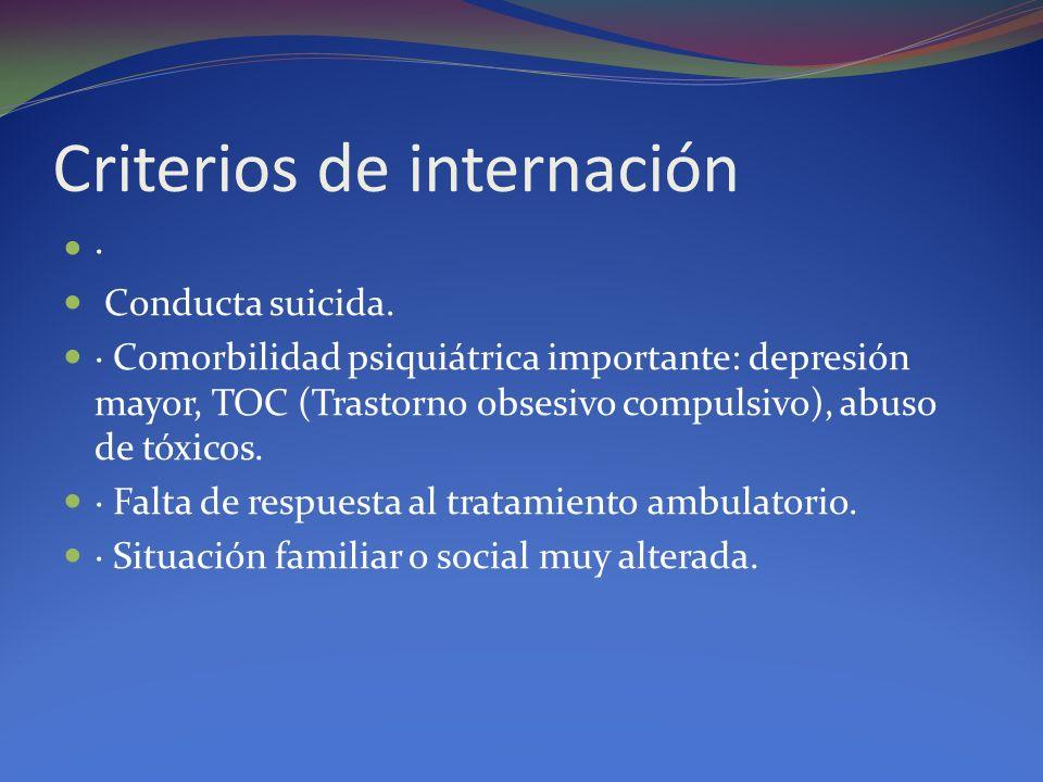 Criterios de internación · Conducta suicida. · Comorbilidad psiquiátrica importante: depresión mayor, TOC (Trastorno obsesivo compulsivo), abuso de tó