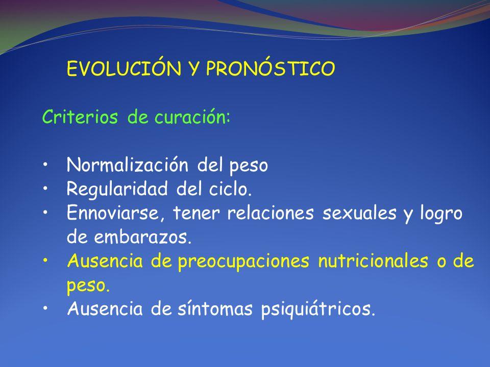EVOLUCIÓN Y PRONÓSTICO Criterios de curación: Normalización del peso Regularidad del ciclo. Ennoviarse, tener relaciones sexuales y logro de embarazos