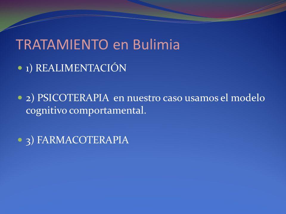 TRATAMIENTO en Bulimia 1) REALIMENTACIÓN 2) PSICOTERAPIA en nuestro caso usamos el modelo cognitivo comportamental. 3) FARMACOTERAPIA
