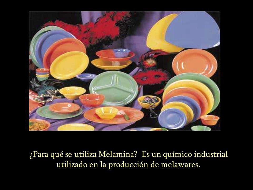 ¿Para qué se utiliza Melamina? Es un químico industrial utilizado en la producción de melawares.