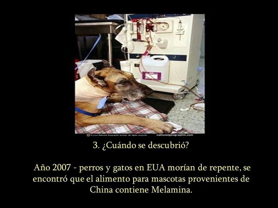 3. ¿Cuándo se descubrió? Año 2007 - perros y gatos en EUA morían de repente, se encontró que el alimento para mascotas provenientes de China contiene