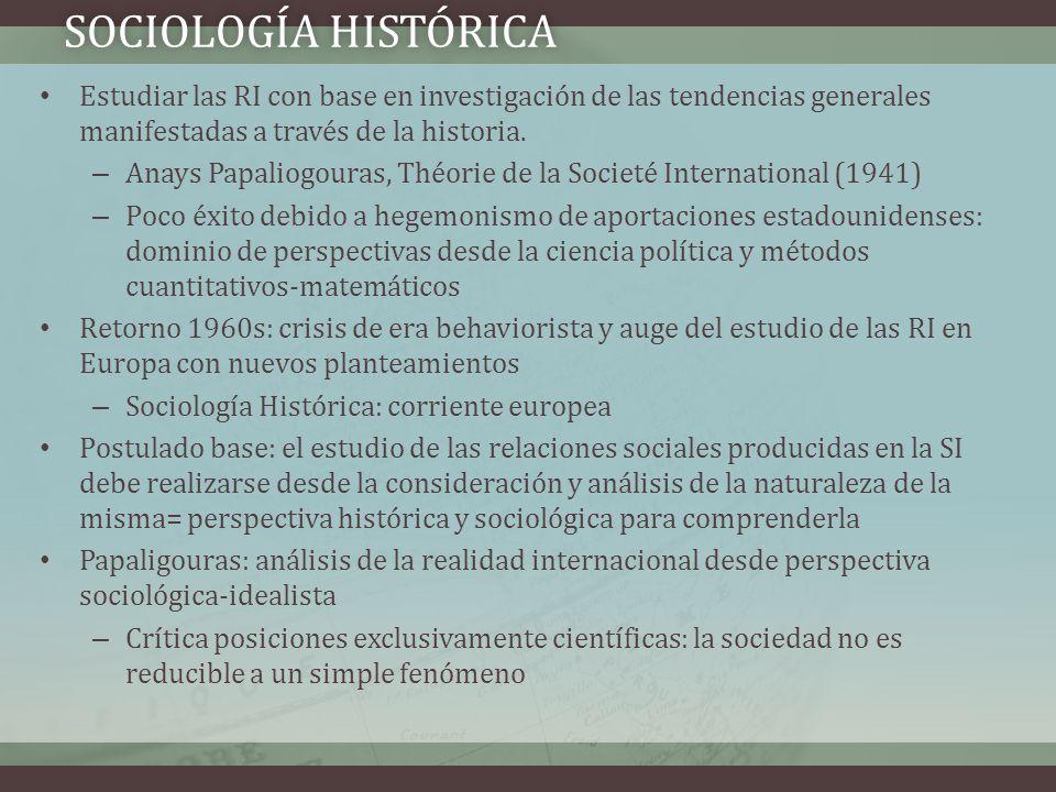 SOCIOLOGÍA HISTÓRICASOCIOLOGÍA HISTÓRICA Estudiar las RI con base en investigación de las tendencias generales manifestadas a través de la historia. –