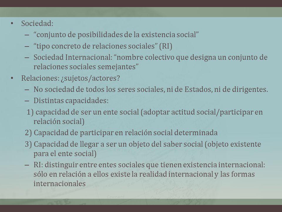 Sociedad: – conjunto de posibilidades de la existencia social – tipo concreto de relaciones sociales (RI) – Sociedad Internacional: nombre colectivo q