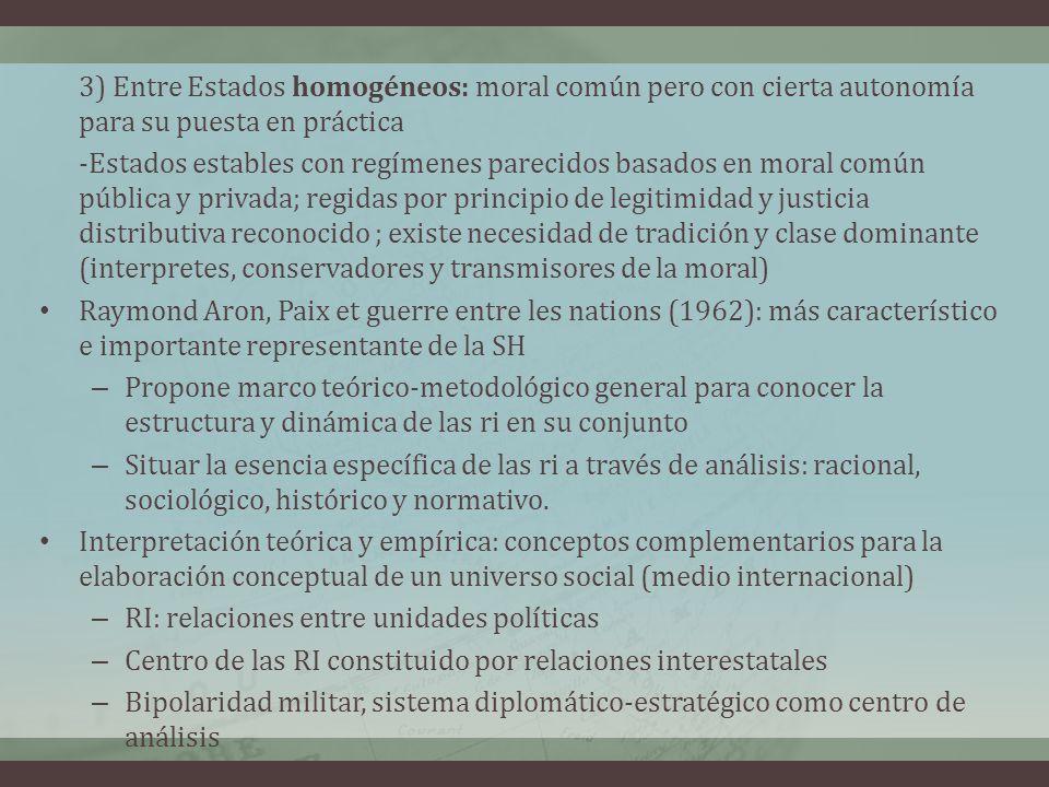 3) Entre Estados homogéneos: moral común pero con cierta autonomía para su puesta en práctica -Estados estables con regímenes parecidos basados en mor