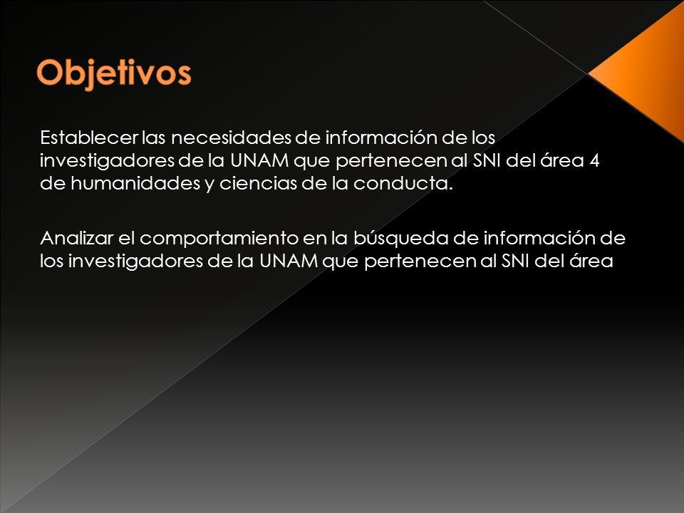 Establecer las necesidades de información de los investigadores de la UNAM que pertenecen al SNI del área 4 de humanidades y ciencias de la conducta.